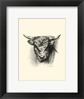Framed Antique Cattle III