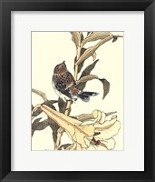 Framed Oriental Bird On Branch II