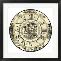 Framed Antique Floral Clock