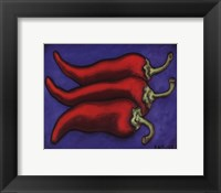Three Chilli Peppers Framed Print