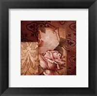 Framed Linen Roses I