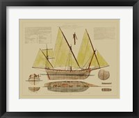 Framed Antique Ship Plan V