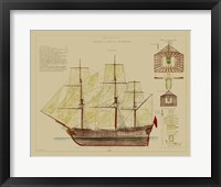 Framed Antique Ship Plan VIII