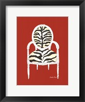 Zebra Chair On Red Framed Print
