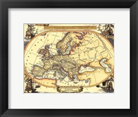 Framed Small Nautical Map Of Europe