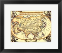Framed Small Nautical Map Of Asia