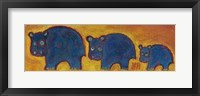 Framed Famille Hippopotame Bleus