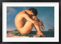 Framed Jeune Homme nu Assis au Boro de la Mer