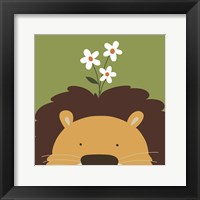 Peek-A-Boo Lion Framed Print