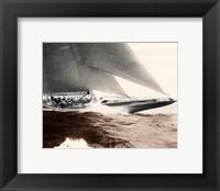 Framed Mariner's Museum - Rainbow's Finish 1934 Vintage Maritime