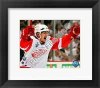 Framed Jiri Hudler Celebrates his Game Winning Goal in Game 4 of the 2008 NHL Stanley Cup Finals