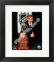 Framed Patrick Kane with the 2008 Calder Memorial Trophy
