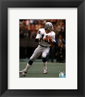 Framed Jim Plunkett Dropping Back Action