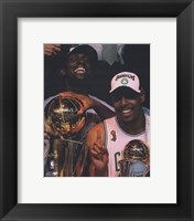Framed Kevin Garnett & Paul Pierce, Game Six of the 2008 NBA Finals With Trophies; Celebration #31