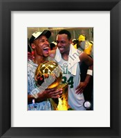 Framed Ray Allen & Paul Pierce, Game Six of the 2008 NBA Finals With Trophy, In the Locker Room #34