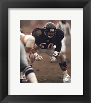 Framed Mike Singletary Defensive Stance