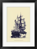 Framed Antique Ship in Blue I