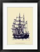 Framed Antique Ship in Blue II