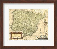 Framed Spain Map