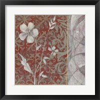 Taupe and Cinnabar Tapestry II Framed Print