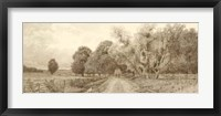 Framed Country Road Sepia