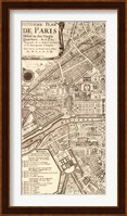 Framed Plan de la Ville de Paris, 1715 (L)