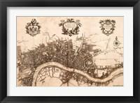 Framed Plan of the City of London, 1720