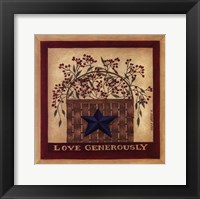 Love Generously Framed Print