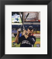 Framed Justin Morneau with the 2008 MLB Home Run Derby Trophy