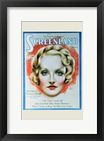 Framed Marlene Dietrich - woman's face