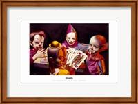 Framed Clown Kids Playing Poker