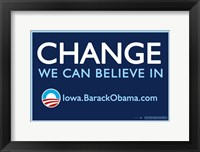 Framed Barack Obama - (Change, Iowa) Campaign Poster