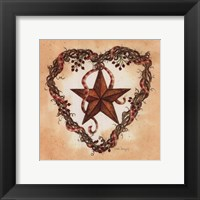 Framed Barn Star with Heart Wreath