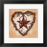 Framed Barn Star with Heart Wreath