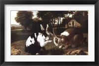 Framed Two Rabbits in a Landscape