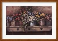 Framed Flowers on Shelf