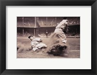 Framed Joe DiMaggio Sliding Into Third