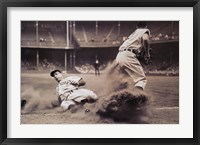 Joe DiMaggio Sliding Into Third Framed Print