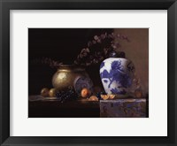 Framed Blue China Vase