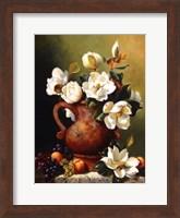 Framed Magnolias In Terra Cotta