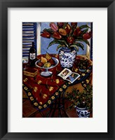 Framed Blue And White With Tangerine Tree