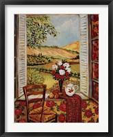 Framed Cabbage Rose Wallpaper