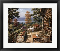 Log Cabin Porch Framed Print