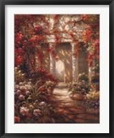 Framed Crimson Courtyard