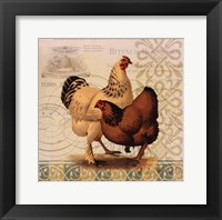 Framed Chickens & Scrolls I
