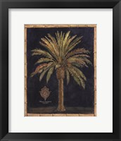 Framed Caribbean Palm I With Bamboo Border