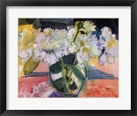 Framed White Bouquet on Pink Table