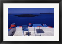 Framed View with Blue and Pink