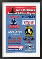 Framed John McCain's Rejected Political Slogans