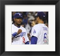 Framed Manny Ramirez & Joe Torre Broxton Celebrate Game 4 of the 2008 NLDS
